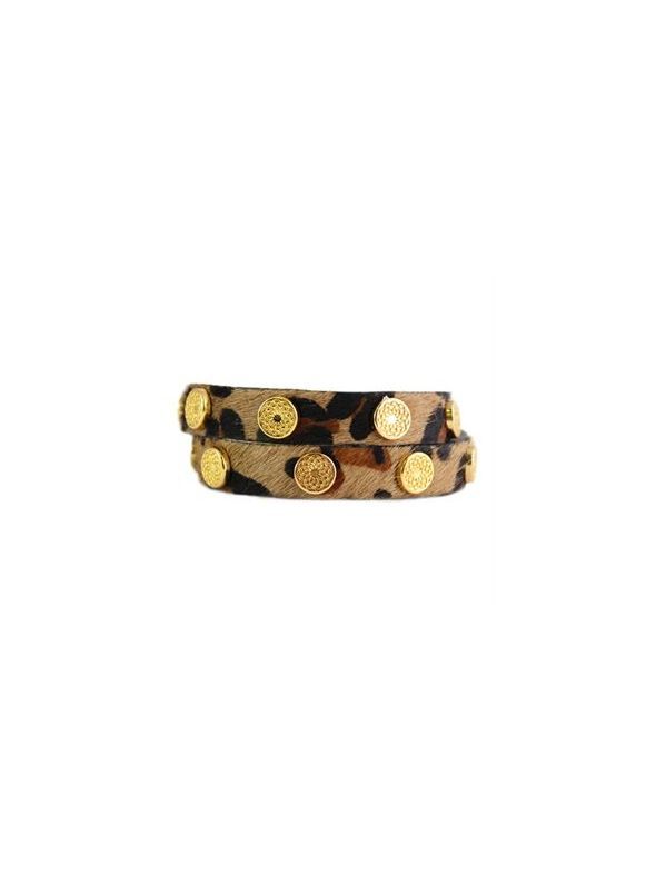 Leopard Leather Wrap with Gold Studs