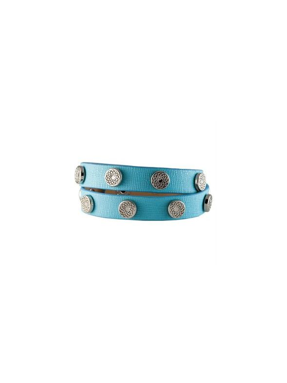 Turquoise Leather Wrap with Silver Studs