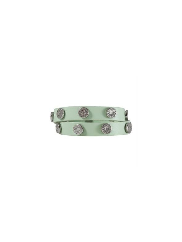 Mint Leather Wrap with Silver Studs