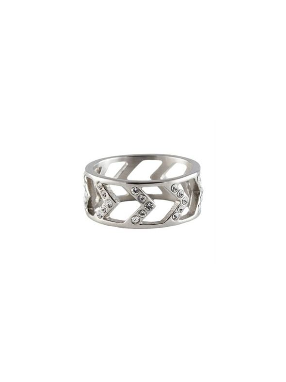 Silver Chevron Ring - Size 6
